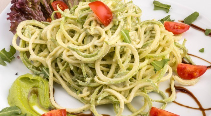 Raw Zucchini Pasta with Basil Pesto Recipe (Dairy and Nut-Free)